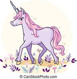 pastel, eng, magiske, farver, fabelagtige, enhjørning, cartoon