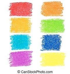 pastel, ensemble, crayon, taches, arc-en-ciel