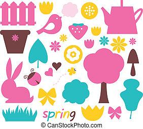 pastel, ensemble, rose, brun, nature, paques, -, illustration, couleurs, vecteur, cyan., éléments