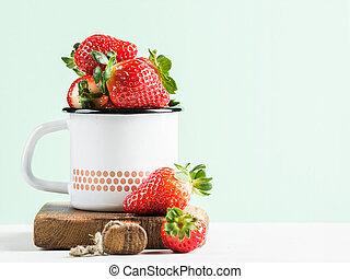 pastel, estilo, esmalte, maduro, de madera, luz, rústico, jarra, fresas, plano de fondo, país, fresco, tabla, menta, rojo