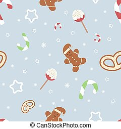 pastel, estilo, invierno, pattern., interminable, sweets., theme., textura, tradicional, fondo., vector, gingerbread., colors., año, nuevo, retro, navidad, illustration.