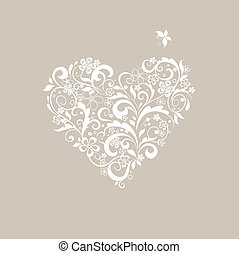 pastel, facon, hilsen card, hjerte