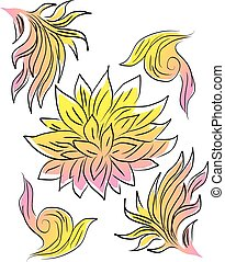 pastel, fleur, art