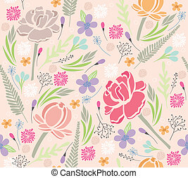 Pastel floral pattern - Seamless floral pattern. Background...