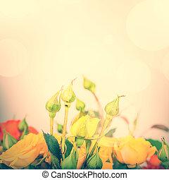 Defocus blur Pastel flowers on tender background with color filters
