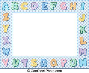 pastel, frame, polka punt, alfabet
