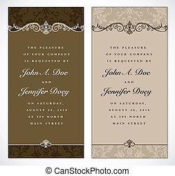 pastel, frame, vector, set, trouwfeest