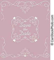 pastel, frame., vendimia, boda, fecha, excepto, arco, tarjeta
