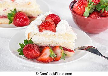 pastel, fresa, rebanada, casero, crema