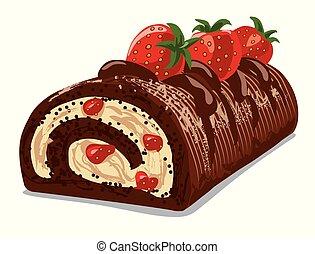 pastel, fresa, rollo, chocolate