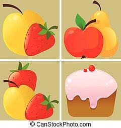 pastel, fruta, iconos