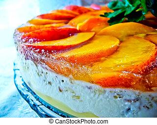 pastel, fruta, jellied