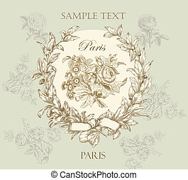 Pastel gentle rose vector label with wreath