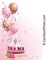 pastel, globos, cumpleaños