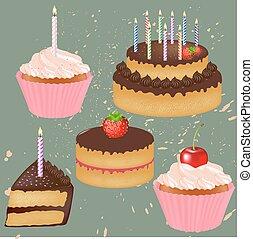 pastel, grande, cumpleaños, conjunto