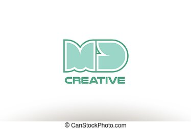 pastel green alphabet letter md m d combination joint logo...