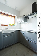 Pastel green cabinets and window - Pastel green cabinets,...
