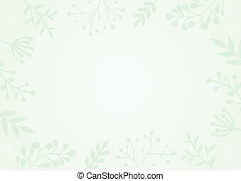 Pastel green gradient background with flower border