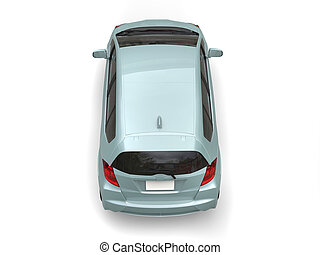 Pastel green metallic modern compact car - top view