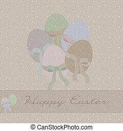 Pastel greeting card with Easter eggs