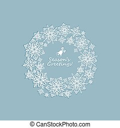 Pastel greeting winter card with paper cut out snowflakes xmas wreath
