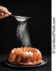 pastel, gugelhupf, azúcar polvo