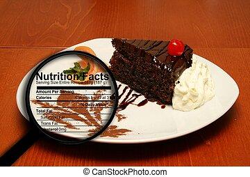 pastel, hechos nutrición