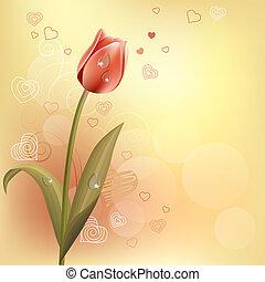 pastel, hjerter, kontur, baggrund, tulipan