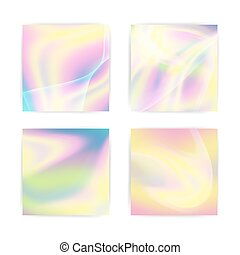 pastel, holographic, arrière-plan., effect., néon, fluide, multicolore, hues, vecteur, conception, iridescent, pearlescent, élément, texture.