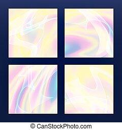 pastel, holographic, effect., fluides, néon, fluide, illustration, multicolore, arrière-plan., vecteur, iridescent