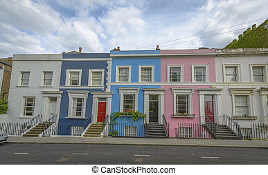 Pastel houses, Notting Hill - London