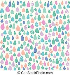 pastel, hvid, farverig, regn, baggrund