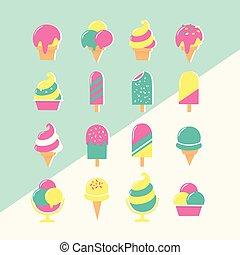 pastel, jogo, ícones, gelo, cores, creme
