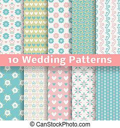pastel, kærlig, bryllup, vektor, seamless, mønstre,...