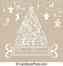 pastel, kerstmis kaart, groet