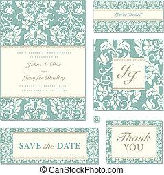 pastel, komplet, ułożyć, florals, wektor, ślub