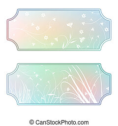 Pastel labels with flourishes