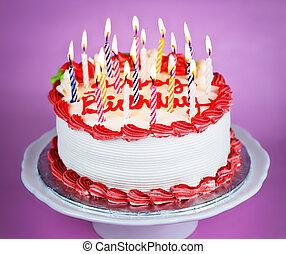 pastel, lit, velas de cumpleaños