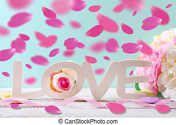 pastel love background with falling rose petals