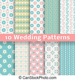 Pastel loving wedding vector seamless patterns (tiling). -...