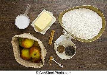 pastel, manzana, sobre, ingredientes