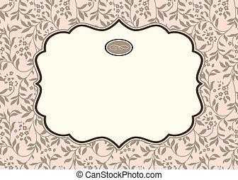 pastel, marco, vector, plano de fondo, florido, hiedra