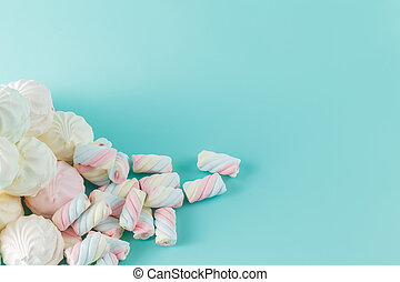 marshmallow hill on aquamarine background