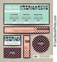 pastel, menu restaurant, polka, conception, gabarit, modèle, café, point