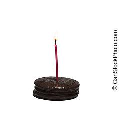 pastel, mini, cumpleaños, abrasador, vela