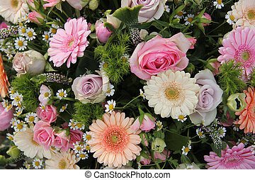 Pastel mixed bouquet - Gerberas, ranunculus and roses in a ...