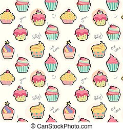 pastel model, seamless, cupcake, achtergrond, doodle