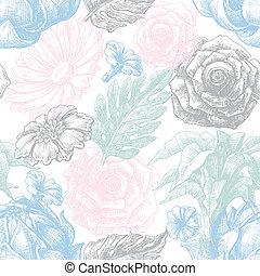 pastel model, seamless, textuur, kleuren, floral