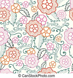 Pastel multicolored vector flowers and leafs seamless pattern background