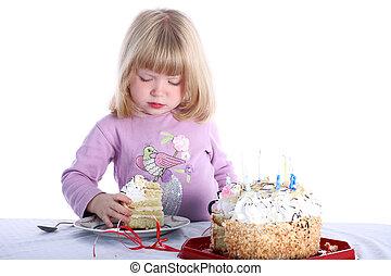 pastel, niña, cumpleaños, aislado, blanco